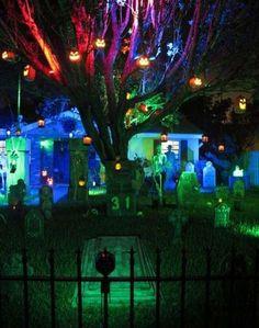 Pics of Eerie Acres Cemetery- multiple color lighting example on Halloween Forum Halloween Prop, Halloween Outside, Halloween Coffin, Halloween Graveyard, Halloween Party Supplies, Scary Halloween Decorations, Halloween Trees, Halloween Haunted Houses, Outdoor Halloween
