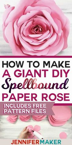 Flower: Spellbound Rose - Every Petal is Unique Free pattern and tutorial to make a giant rose from paper. This Spellbound Rose makes a gorgeous decoration for parties and walls! Learn how to make a giant paper rose with free PDF pattern and SVG cut files Big Paper Flowers, Giant Paper Flowers, Diy Flowers, Flower From Paper, Paper Wall Flowers Diy, How To Make Paper Flowers, Flower Diy, Flower Crafts, Tissue Paper Roses