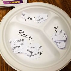 "WORD PARTS LESSON~ Students form groups of three or four. Each group gets a disposable plate with three sections. The sections are labeled ""prefix,"" ""suffix,"" and ""root word."" Finally, groups are given a bag of big words. They use scissors to cut the words into parts, and then drop each part into its respective section on the plate. Great idea!"