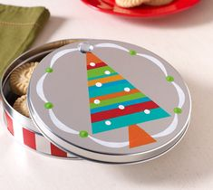 Craft Painting - Brightly Striped Cookie Tin