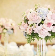 Pale pink + blue- love these colors!!! Just add some white/ivory roses!