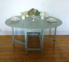 Wooden Dinning Table - French Grey - Drop Leaf Design