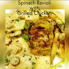 Spinach Ravioli in Creamy Mushroom Sauce!! Spinach Ravioli in Creamy Mushroom Sauce is a creamy, smooth, garlicky, comfort treat of a meal. One bite and you'll never want your ravioli any other way!  #ravioli #spinachravioli #grilledchicken #pasta #mushroomsauce