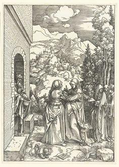 Albrecht Dürer | Visitatie, Albrecht Dürer, 1503 - 1504 | Maria en Elizabeth, beiden net zwanger, ontmoeten elkaar bij een huis. Een man staat in de deuropening, een aantal vrouwen staan achter Maria en Elizabeth. Op de achtergrond een berglandschap. Deze prent is onderdeel van een serie van 20 prenten, bestaand uit een titelprent en 19 prenten met scènes uit het leven van Maria.