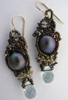 Bead Weave Earrings Copper Gold pearl crystal