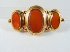 Lovely carnelian gold brooch, Stamped 18K solid gold pin, large and heavy Victorian gold jewelry, Fine jewelry, three stone pin, Circa 1890 by MidwestArtObjects on Etsy