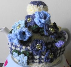 beautiful blues ... hand knitted crocheted and by peerietreisures