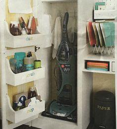 Built in mini shelves inside linen closet