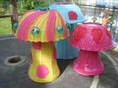 how to make glass garden mushrooms