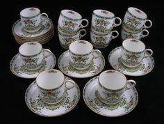 Royal Doulton Complete Set 12 Demitasse Expresso Cups / Saucers - c. 1920's, England -Royal Doulton-