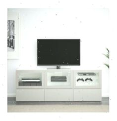 "BESTÅ TV unit with doors and drawers, white Lappviken, light gray clear glass – 70 "" – drawer runner, soft-closing – IKEA"