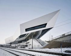 Porsche Museum was conceived as a gravity-defying, dynamically formed structure located in the sports car's home city of Stuttgart, Germany.     The museum, designed by Austrian firm Delugan Meissl Associated Architects