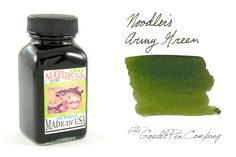 3oz (90ml) bottle of Noodler's Army Green fountain pen ink. Bottle may come in plastic or glass - stock is varied.