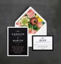 black and white wedding invitation with bold floral lined envelope @myweddingdotcom