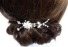 Daisy Flower Pearl Style Comb with Silver by RosieWilsonDesigns