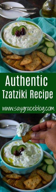 This authentic Tzatziki sauce is perfect for serving with any meat or also makes a flavorful appetizer dip! I learned how to make it in Mykonos, Greece. Tzatziki Recipes, Tzatziki Sauce, Authentic Tzatziki Recipe, Appetizers For Party, Appetizer Dips, Spinach Risotto, Sauce Recipes, Dip Recipes, Delicious Recipes