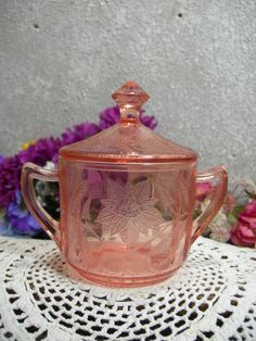 Pink Depression Jeanette Glass Lidded Floral by MyRetroCharm
