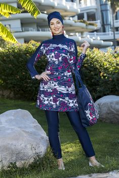 Elegant Navy Motive Burkini Islamic Swimwear, Swimsuits, Navy, Elegant, Stylish, Fabric, Women, Fashion, Formal Dresses