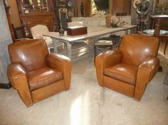 Nice pair of club chairs in leather, thick leather and perfect, c.1920