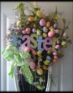 Easter Egg Hunt grapevine Easter wreath by SparetimeSpecialties