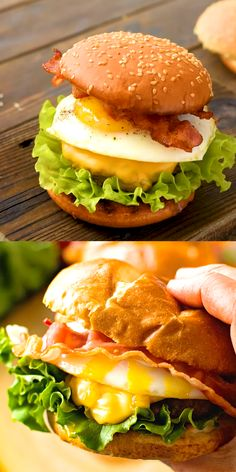 Egg Burger Juicy hamburger straight off the grill topped with a runny egg, cheese and bacon. If you are looking for the ultimate burger recipe this is it! All your favorites in one. Don't forget the buttered and toasted bun. Grilled Burger Recipes, Beef Recipes, Cooking Recipes, Healthy Recipes, Chicken Burger Recipes, Fried Chicken Sandwich, Barbecue Recipes, Juicy Hamburger Recipe, Hamburger Egg