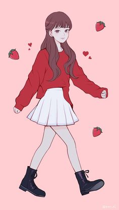 Cartoon Girl Images, Cartoon Art Styles, Girl Cartoon, Kawaii Art, Kawaii Anime Girl, Anime Art Girl, Anime Girl Dress, Pretty Anime Girl, Beautiful Anime Girl