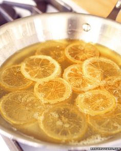 Candied Lemon Slices - Martha Stewart Recipes  Made these today as a garnish for mini lemon pies-they're sticky and shiny, not hard.  Yummy though! <3Rinn