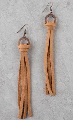 Buckskin+Leather+Tassel+Earrings