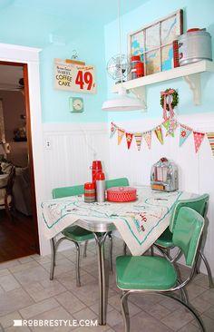 Retro Styled Kitchen Dinette by RobbRestyle.com - aqua, blue, red decor