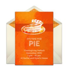 Customizable, free Pumpkin Pie online invitations. Easy to personalize and send for a Thanksgiving dinner. #punchbowl