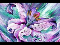 Beautiful FLOWERS: Roses Orchids Water lilies ART of Sofia Metal Queen #slideshow #Flower #art #contemporary #modernart #painting #lily #lilac #pink