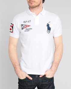POLO Ralph Lauren, White Big Pony Flag Slim-Fit Polo Shirt