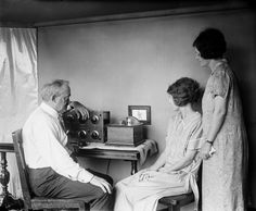 """C. Francis Jenkins with """"radiovision"""" set, 1925. Jenkin's radiovision was capable of displaying silhouetted images from data received by radio signal."""