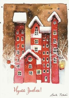 Christmas Images, Christmas Crafts, Xmas, Buildings Artwork, House Quilts, Winter Time, Art Pictures, Zentangle, Watercolors