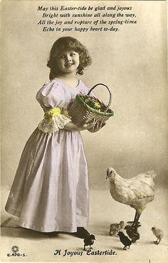 Vintage Postcard ~ Little Girl w/Chicken
