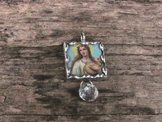 Religious Icon 1 Inch Glass Soldered by MablesGranddaughter, $15.00