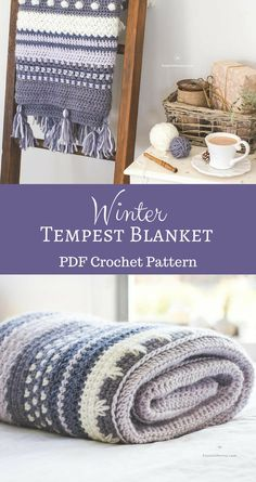 Such a beautiful crochet pattern, this blanket looks warm and cozy! Envelope yourself in the warmth and serenity of the Winter Tempest Blanket, as it gently transports you to a quaint little cottage by the seaside. #homedecor #crafts #projects #yarn #blanket #crochet #pattern #etsy #affiliate