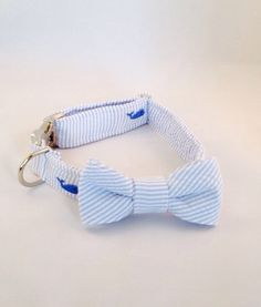 Preppy Blue Whale Seersucker Bow Tie Dog Collar by thesouthernpup