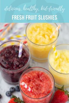 Keep your kids happy and hydrated this summer with simple real fruit slushies! These frosty treats are free from artificial flavors and dyes, and sweetened with nothing but real fruit and a touch of honey. Healthy Recipes, Healthy Snacks, Kid Snacks, Healthy Breakfasts, Healthy Drinks For Kids, Vegetarian Recipes, Healthy Fruits, Fruit Slush, Strawberry Slushie