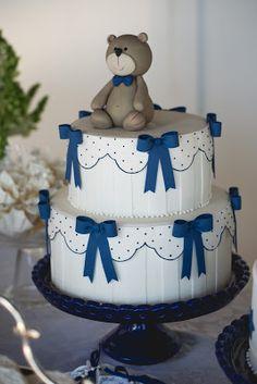 Decoração de Batizado de Menino Azul e Branco por Bella Fiore. Chistening of a Baby Boy blue and white. Decor by Bella Fiore