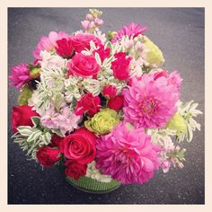 """Bright & cheerful in hot pink and green. The dahlias make quite a statement!  Love the """"Snow on the mountain"""" green & white foliage - a euphorbia the same family as the poinsettia. #paulfennerfloraldesign #flowers #flowerstagram #dailyflowers #dahlias"""