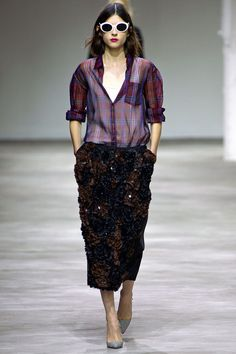 Probably my favorite look of the entire spring '13 season--a sheer purple plaid shirt and an elaborate embellished pencil skirt from Dries Van Noten. Ladylike grunge (and I need me some bright white shades)!