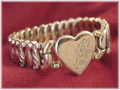 Victorian Sweetheart Heart Expansion Promise Bracelet - Gold Filled Repousse Stretch Etch Flowers - Vermont Estate Antique - FREE SHIPPING by FindMeTreasures on Etsy