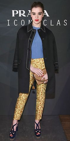 Last Night's Look: Love It or Leave It? Vote now! | HAILEE STEINFELD | celebrating at the Prada: The Iconoclasts event, the onetime face of Miu Miu wears jacquard pants, a blue knit sweater, piped black coat and chunky sandals