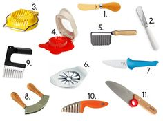 Messer, Kleinkinder, Montessori, Wellenschneider, Gemüseschneider, WMF, Buttermesser, Wiegemesser, Eierschneider, Apfelspalter