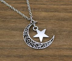 Moon necklace,retro silver star and crescent moon charm necklace,best gift for your friend and love,Friendship christmas Gift on Etsy, £2.47