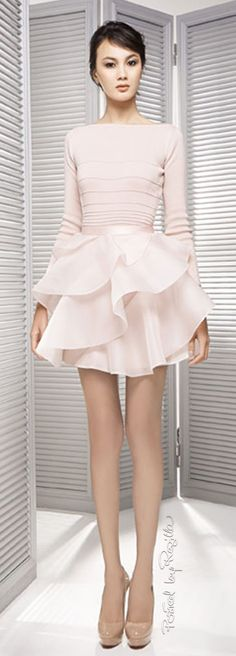 Poem Bangkok: pale pink knitted top & ruffled skirt.
