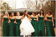 Fall wedding with emerald green bridesmaids... A Northwoods Wedding » A Midwest Wedding Blog