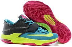 """best loved 45a36 d7579 Discover the Nike Kevin Durant KD 7 VII """"Carnival"""" Hyper Jade Volt-Hyper  Pink-Dark Base Grey For Sale Super Deals collection at Footlocker."""