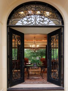 Art Deco Front Door with Glass panel door exterior stone floors Transom window & What an entrance! Entry Photos Old World Tuscan Mediterranean Design ...